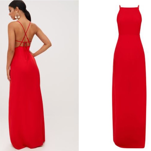 ae121c2d8f Red Strappy Back Detail Chiffon Maxi Dress